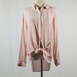 Elan White & Pink Striped Tie-up Button Down L